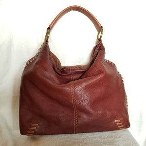 Lucky Brand Brown Leather Whipstitch Slouchy Hobo